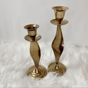Vintage 1970s Curly Flame Brass Candlesticks